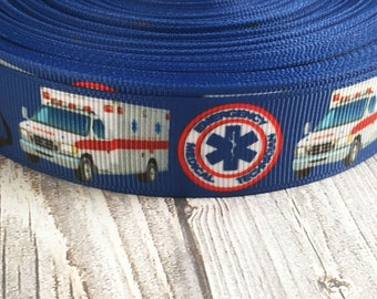 "EMT ribbon - First responder ribbon - Medical ribbon - Hero ribbon - 7/8"" Grosgrain ribbon - 3 or 5 yards - Dad EMT - Mom EMT - Emergency"