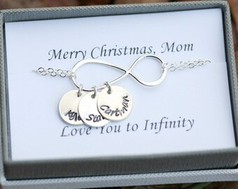 Personalized infinty bracelet,Mother's day gift bracelet,name plate bracelet,Grandma gift,large infinity,hand stamped name,custom note card