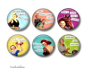 Sassy Ladies pinback button badges or fridge magnets, fridge magnet set