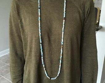 Amazonite Extra Long Double Wrap Necklace