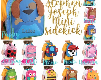 Personalized Toddler Backpack ,Toy Bag , Kids Backpack ,Preschool backpack ,Stephen Joseph Backpack, Personalized Kids Bag ,MINI Sidekick
