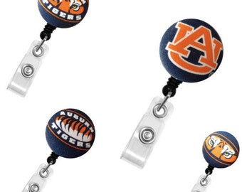 ID Badge Holder Retractable • Badge Clip • Gift • Badge Holder •  Nurse Badge Reel • ID Badge Reel • ID Badge Holder • Auburn Tigers Badge