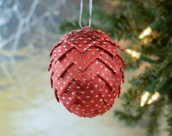 Handmade Christmas Ornament Red Shimmer Ribbon with Silver Polka Dots Classic Holiday Decor and Trim a Tree Gift idea for office exchange