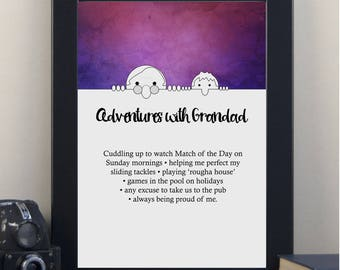 Adventures with Grandad Personalised Print-Gift for Grandad-Father's Day Gift for Grandpa-Personalized Print-Fathers Day Gift-Fathers Day