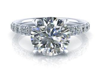 Platinum Moissanite Engagement Ring - Round Cut - 8mm EF NEO Moissanite