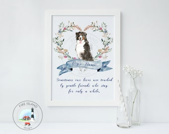 Bernese Mountain Dog,  Memorial, Pet Loss, Personalized Dog Print, Personalized Memorial Print, Rainbow Bridge, Personalized Pet Memorial