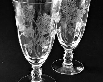 2 Heisey Rose Crystal Ice Tea Glasses / Goblets Etched Elegant Glass Stemware