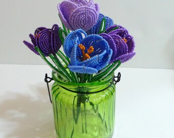 French Beaded Flowers Five Purple Crocuse
