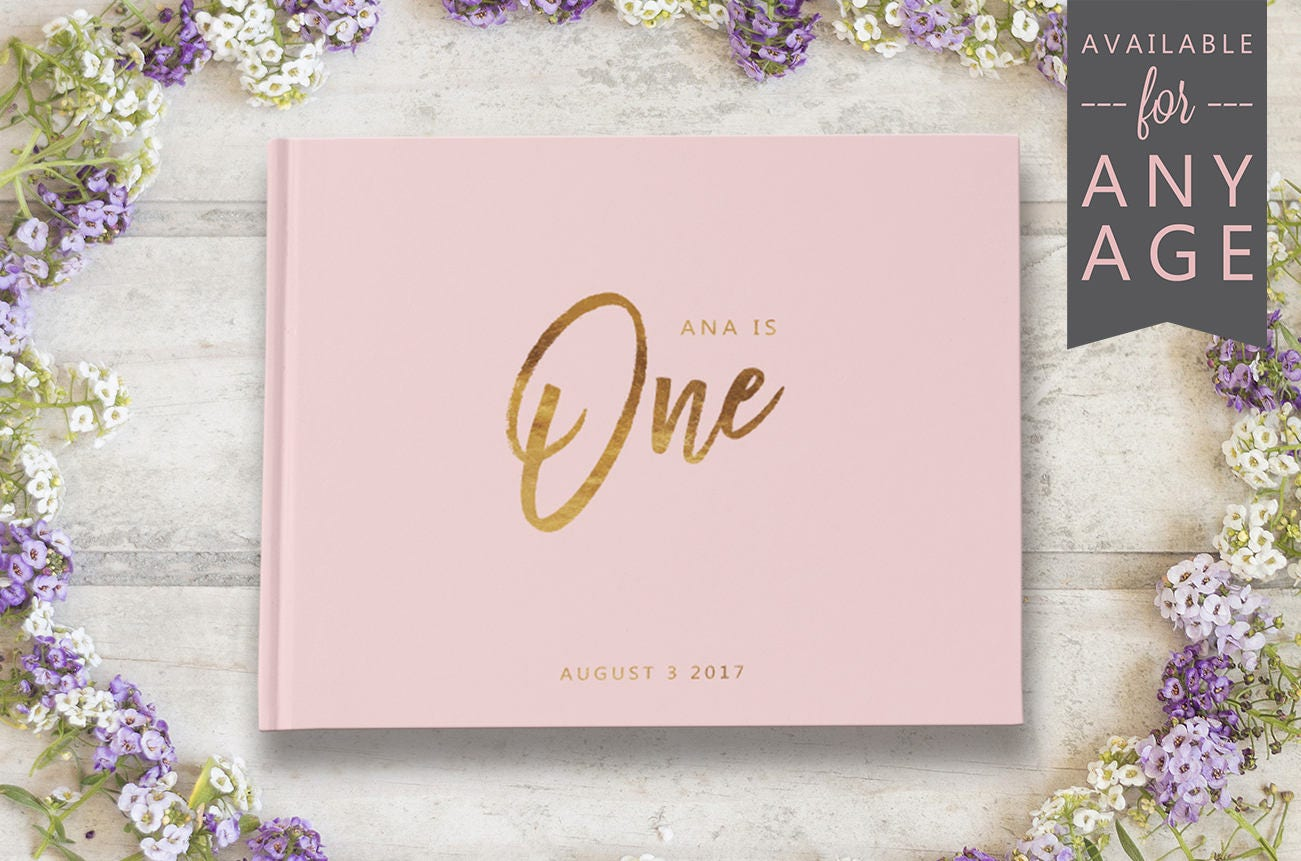 First Birthday Guest Book Pink and Gold First Birthday Baby
