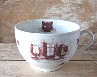 RESERVED for D, Please don't purchase, 23 oz Mug Bees Honey Hives and Skeps, Kitty Cat, Huge Cappuccino Coffee Cup, Ready to Ship