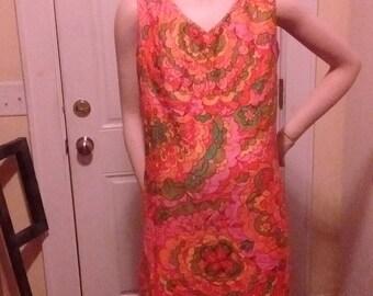 Psychedelic Vintage Sleeveless V-Neck Cotton Dress