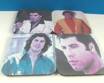 Set Of Four John Travolta Rubber Drink Coasters, Coaster Set, John Travolta, Saturday Night Fever, Grease,Retro, Drink Coasters,Made By Mod.