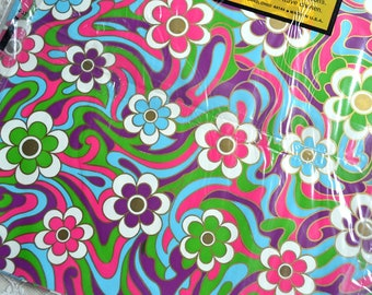 Vintage Wrapping Paper - Mod Flower Power Swirl - 2 Full Unused Sheets NOS