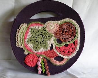 Felt bag embellished with freeform crochet
