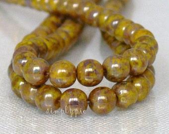 Yellow Bronze Picasso Czech Glass Beads 6mm Round 25