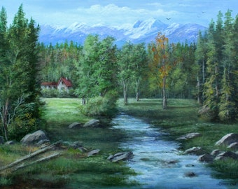 """Painting on 24""""x 36"""" Canvas """"Hidden Valley Home"""" by Donna Bell"""