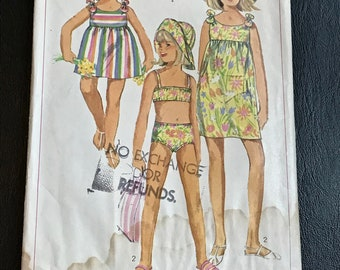Little Girls Summer Beach Wear Sewing Pattern / Vintage 60s Child's / Girl's Dress, Bathing Suit & Hat / Size 6 Breast 24 / Simplicity 7107