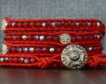 READY TO SHIP wrap bracelet- red czech glass and silver filigree spacer beads on red leather - boho gypsy bohemian