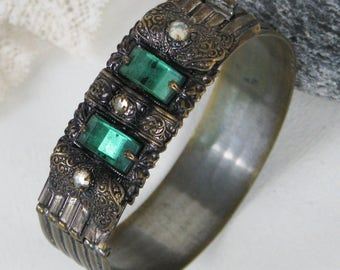 Vintage Ornate Cuff Bracelet, Green, Clear Rhinestones, Crystals, Hinged