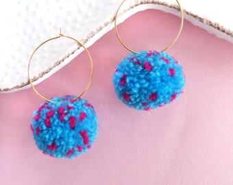 Pom Pom Earrings, Blue Pompom Earrings, Hoop Earrings, Statement Earrings, Colorful Pom Pom, Boho Earrings, Christmas Gift