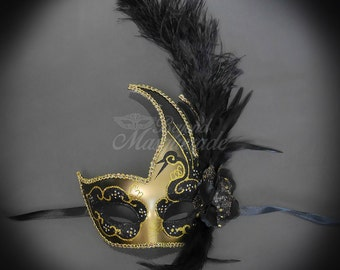 Masquerade Mask, Feather Masquerade Mask, Feather Masks, Mardi Gras Mask, Mardi Gras Masks, Masquerade Ball, Feather Mask [Gold | Black]