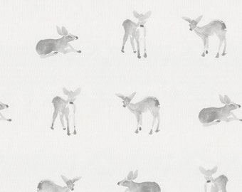 Silver Gray Fawns Organic Fabric - By The Yard - Arrow / Gender Neutral