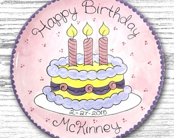 Personalized Birthday Plates - Happy Birthday Plate - 1st Birthday Plate - Hand painted Ceramic Birthday Plate - Whimsical Birthday Cake