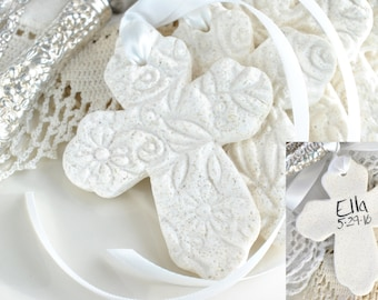 Personalized Imprinted Cross with Ribbon Baptism Favors Set of 6 Salt Dough Napkin Ring / Tie Ornaments