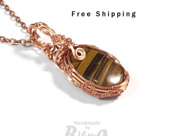 Tiger eye pendant, Tiger Eye gemstone, Tiger eye necklace, Copper wire wrapped pendant, Tiger eye jewelry, Free delivery, Graduation gift