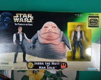 Star Wars The Power of The Force Jabba The Hutt and Han Solo Figure Set 1990's Kenner