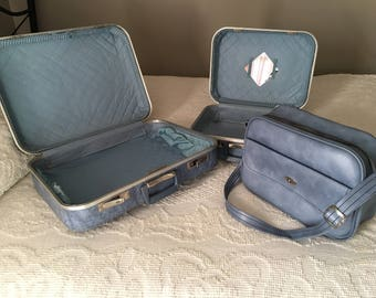 Three Piece Blue Marbled Luggage Set, 1960s