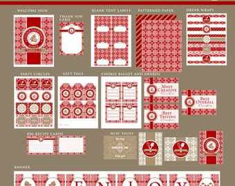 CHRISTMAS Holiday COOKIE EXCHANGE Printable Party Decor Package - Red and White -No Customization included