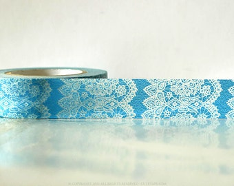 Vertical Blue Lace washi Tape - blue lace trim tape - blue lace paper tape - making tape gift wrapping wedding decoration 15mm Single 49ft