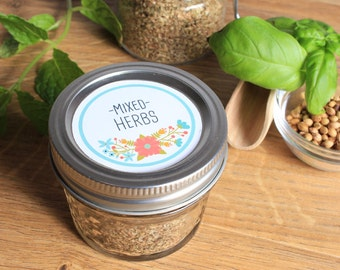 EDITABLE Pantry Label Kit - Herb and Spice Labels - Vintage Wildflowers - Hand drawn style - rustic - whimsical - 1.5, 2, and 2,5 Inch