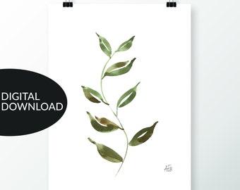 "Botanical Art, ""Dancing Still,"" Greenery Watercolor Art, Rich Greens, Digital Wall Art, Printable, for Personal Use, Earth Tones"