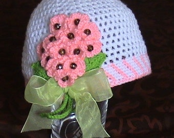 Crochet forget-me-nots hat,Crochet hat with forget-me-not flowers,Crochet white hat,Crochet summer hat