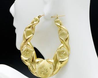 21/2'' 10k Solid Yellow Gold big Large hoop Hugs &Kisses Earrings 62mm 9.3GR