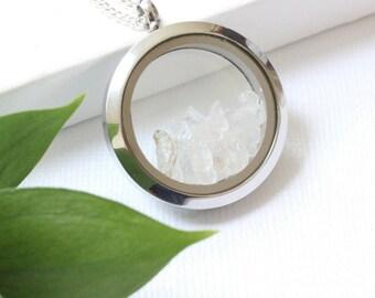 Raw Quartz Silver, Raw Crystal Wedding, Raw Crystal Necklace, Gemstone Chakra Necklace, Statement Necklace, Chunky Necklace, Quartz Pendant