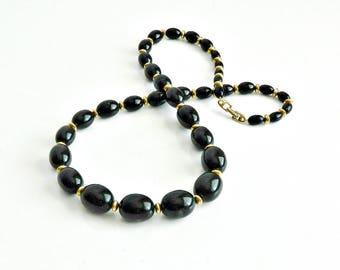 Vintage Napier Necklace, Long Black Beaded Necklace, Graduated Black Beads & Gold Accent Beads