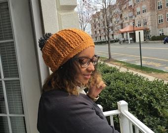Crochet Slouchy Hat with Pom Pom - GOLD