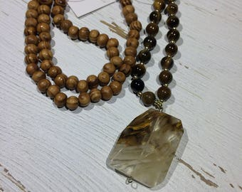 Tigers Eye & Volcano Quartz Mala Beads