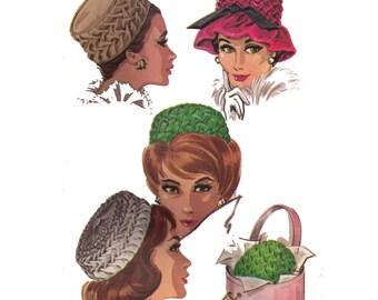 Uncut McCall's 6515, sewing pattern, size 21 1/2-22 1/2 women's smock hats pattern, pillbox hat pattern