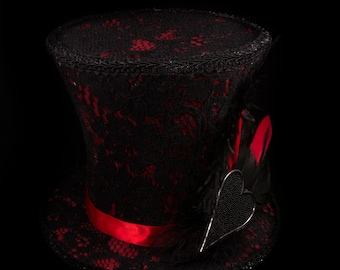 Hearts Top Hat (Red and black)