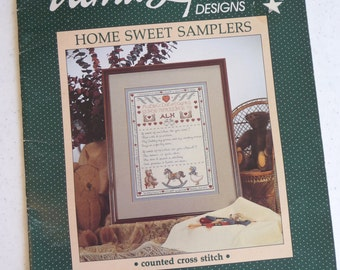 Home Sweet Samplers, Vintage Cross Stitch Booklet, Alma Lynne Designs, Sewing Supplies, Craft Pattern, Vintage Home Decor, Nursery Designs