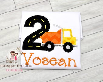 Boy Dump Truck Shirt - Baby Truck Outfit, First Birthday Outfit, Personalized, Embroidered Name, One Year Old Party