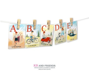 Printable vintage children ABC flashcards / 5 x 7 / digital alphabet flash cards / instant download / homeschooling / education / watercolor