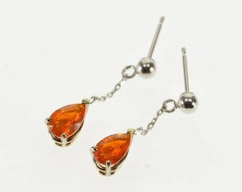 14k Pear Cut Chain Dangle Orange Cubic Zirconia Earrings Gold