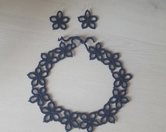 Frivolite necklace and earrings, tatting