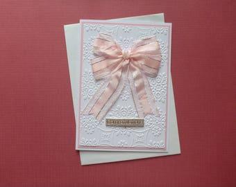 New Baby Pink Ribbon Bow Card  FREE SHIPPING