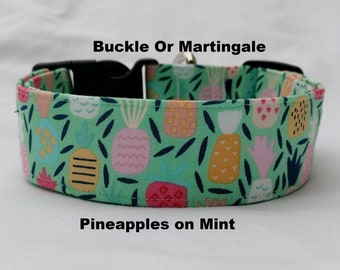 Pineapples on Mint-Choose Buckle or Martingale Dog Collar-Small-Large Breed Dog-1 inch 1.5 -2 inch width-Traffic-Dog Leash